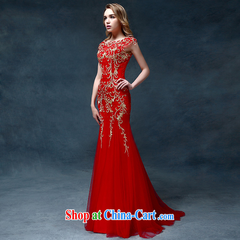According to Lin Windsor bridal toast service 2015 new stylish bridal dresses red wedding dress evening dress long crowsfoot cultivating red are code