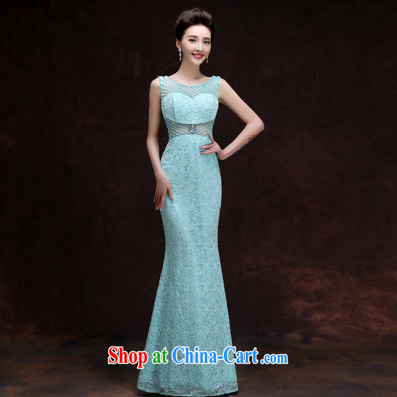 A good service is 2015 new wedding dress bridesmaid sisters served at Merlion dress dress long dress girls light blue XL