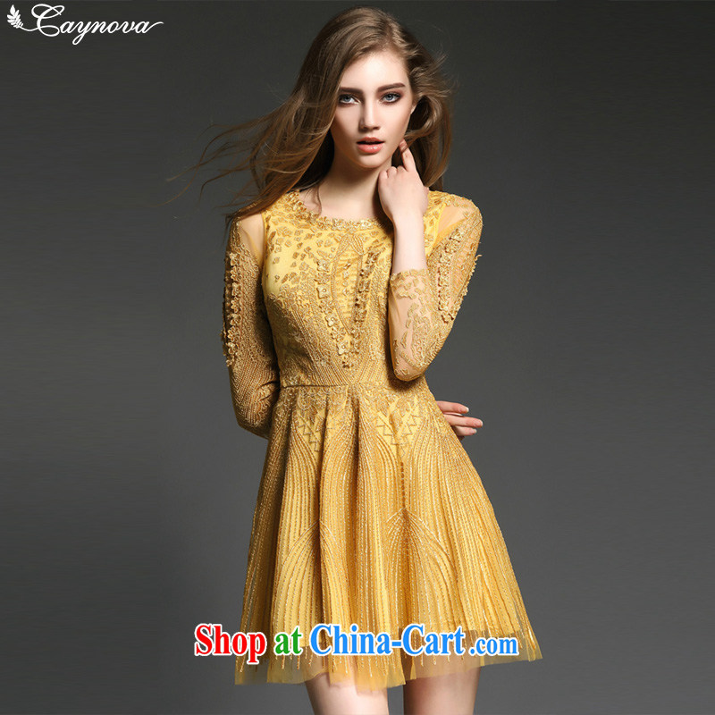 Caynova summer 2015 new stylish high-end yarn Web sexy beauty embroidery graphics thin dress dress gold XL