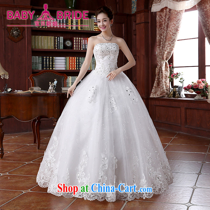 2015 spring and summer new lace-on-chip integrated with cultivating graphics thin with shaggy dress wiped chest wedding dresses white S