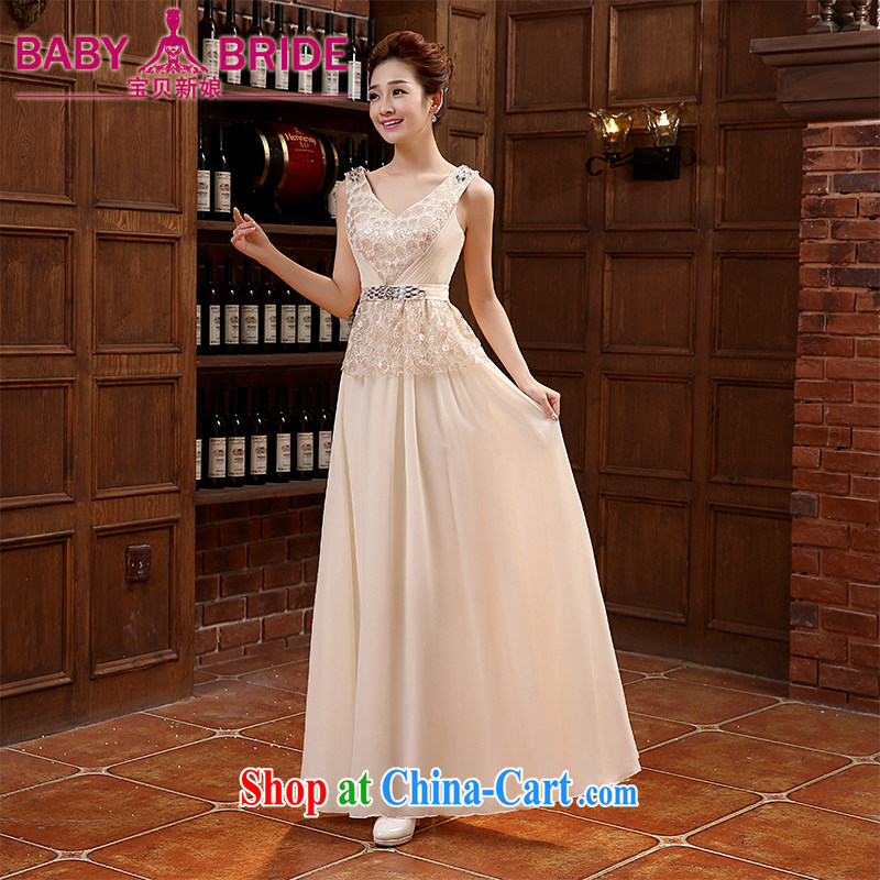 shoulders V for long evening dress bridesmaid dresses annual 2015 New Evening Dress bridal toast serving pink XL