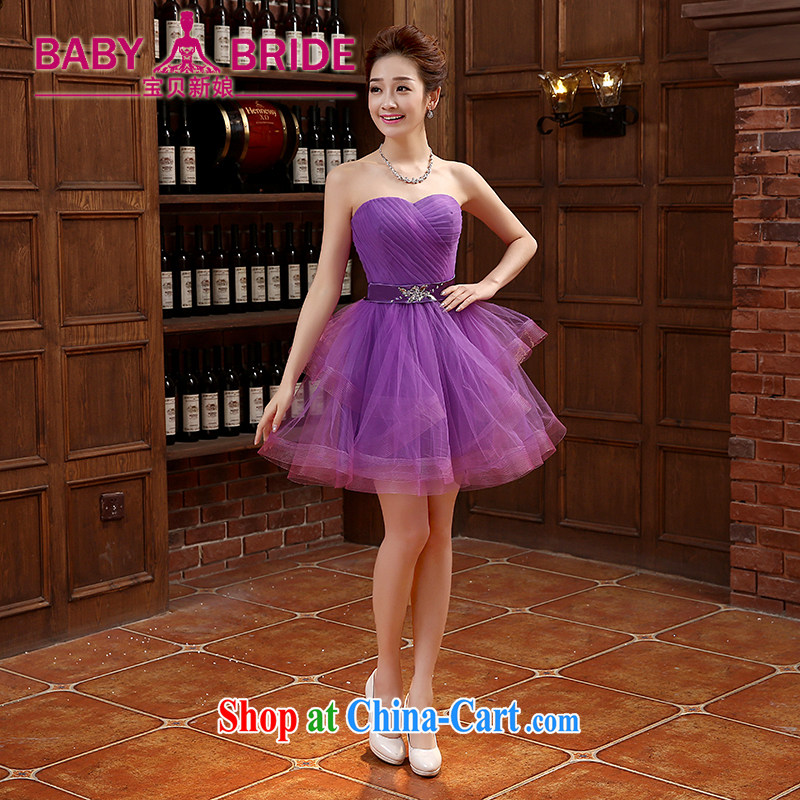 bridesmaid dresses spring 2015 new banquet dress short Korean bridesmaid dress graphics thin bridesmaid clothing purple XL