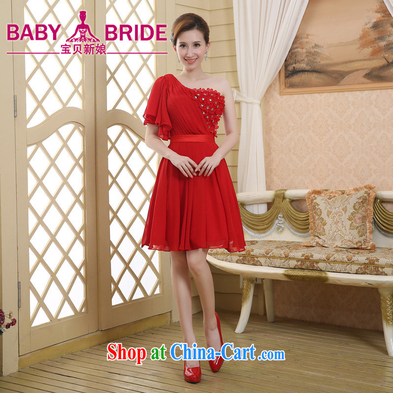 Summer 2015 single shoulder bridal wedding dresses bridesmaid dress red bows stage dress short red XL