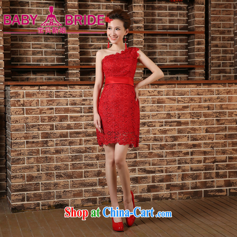 wedding dresses 2015 new single shoulder cultivating graphics thin red bridal with toast bridesmaid dress evening dress dresses short red L