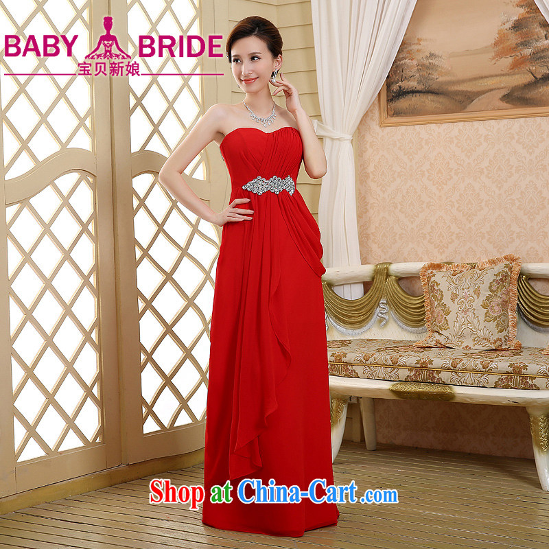 2015 New red long marriages bows dress beauty graphics thin dress Mary Magdalene pregnant women breast, red XL
