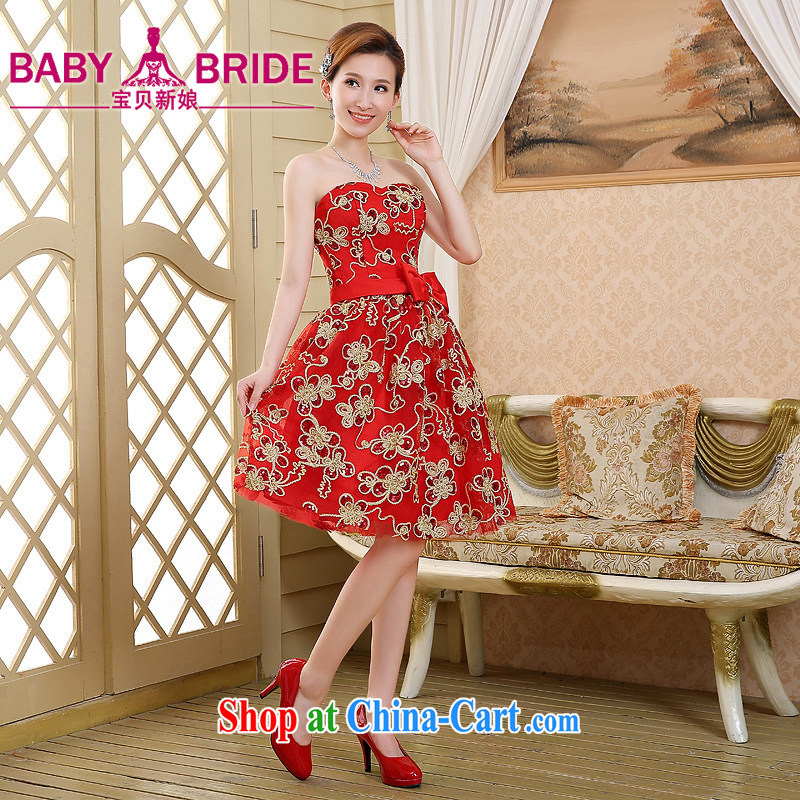 2015 new spring and summer small dress dress bridesmaid dresses in marriage show Banquet hosted erase chest dress short red XL