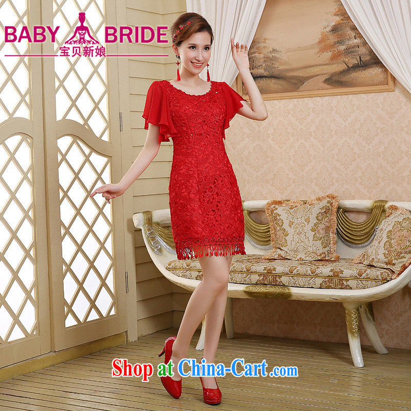 Bridal wedding dress toast clothing cheongsam dress spring and summer new 2015 red stylish lace beauty retro red XL