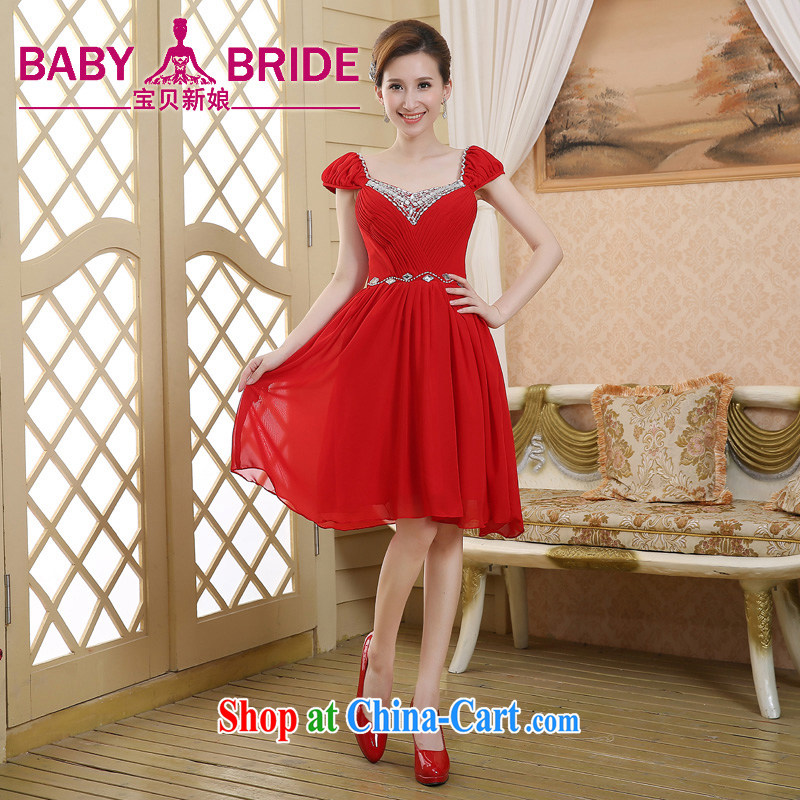 Bridal toast service 2015 New Red double-shoulder lace wedding dresses small short dress red XL