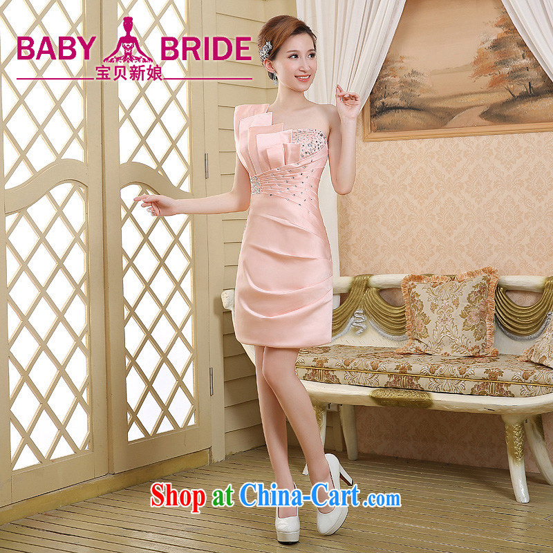 2015 new short Evening Dress package and click shoulder Korean Beauty Princess evening dress dress sexy men toast small dress pink XL