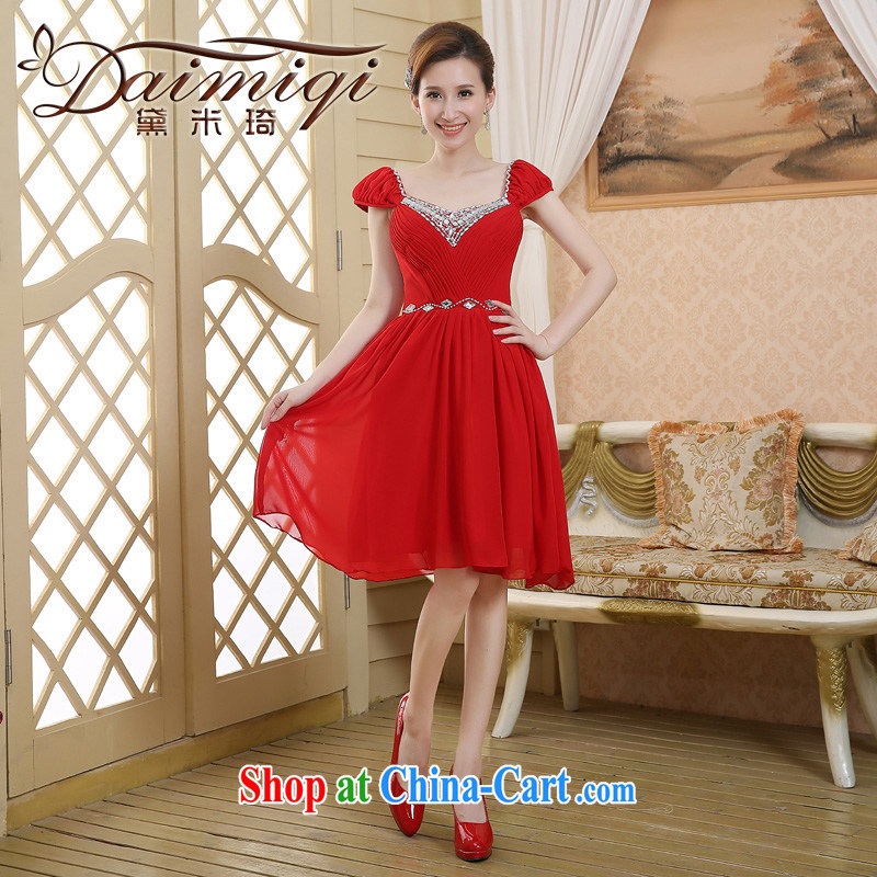 Bridal toast service 2015 New Red double-shoulder lace wedding dresses small short dress red XXL