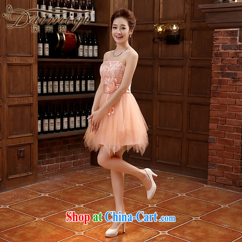 Dress spring 2015 new toast serving short Korean Beauty bare chest strap Banquet Hosted Service orange XXL