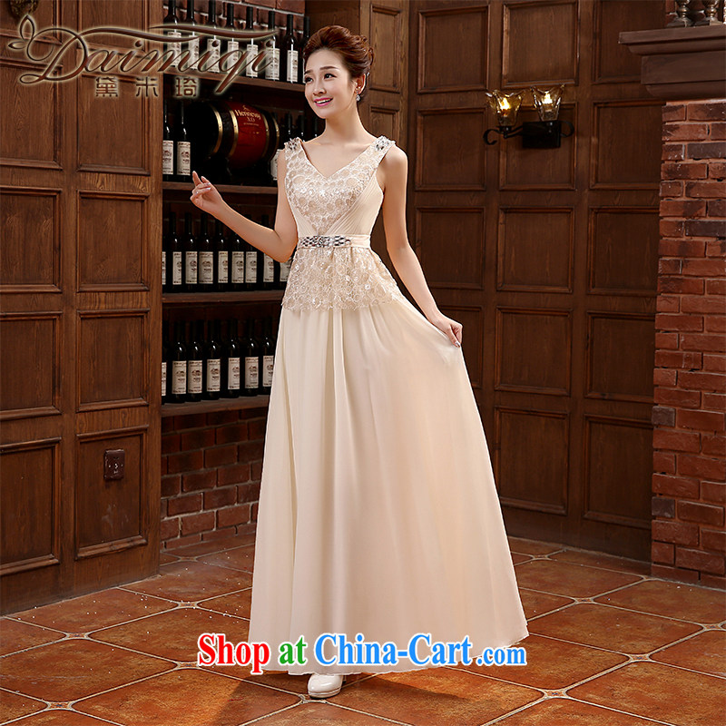 shoulders V for long evening dress bridesmaid dresses annual 2015 New Evening Dress bridal toast serving pink XXL