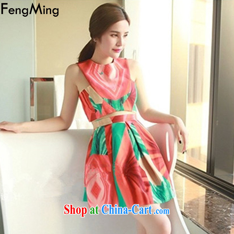 Abundant Ming European site big vest dress girl stamp high waist skirt body Kit 2015 summer New Picture Color M