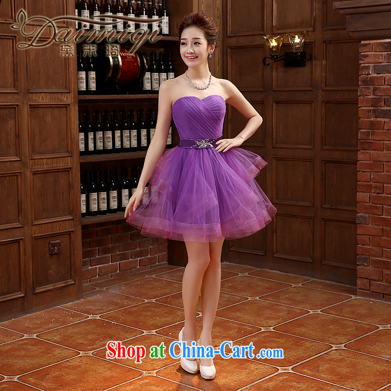 bridesmaid dresses spring 2015 new banquet dress short Korean bridesmaid dress graphics thin bridesmaid clothing purple XXL