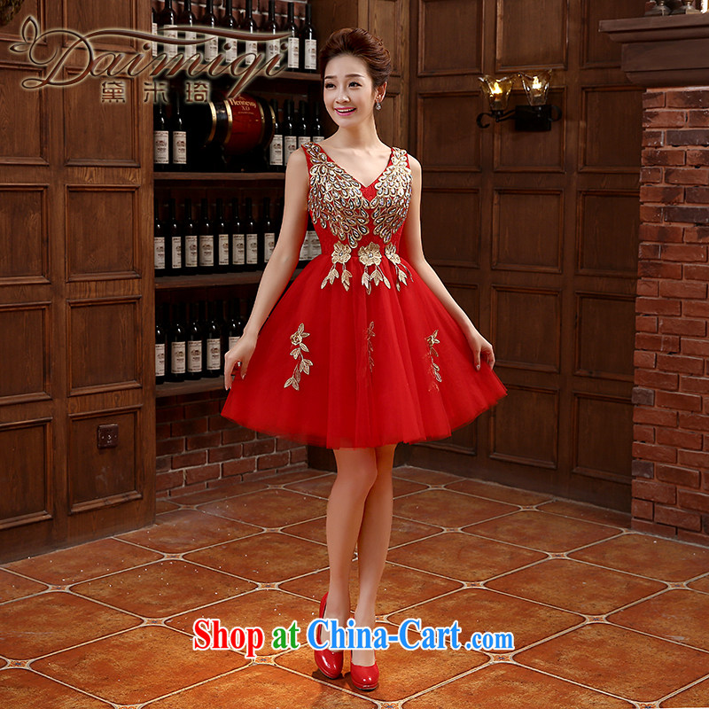 2015 toast serving short summer bridal wedding dress red shoulders V field for small dress dress short skirt Web red XL