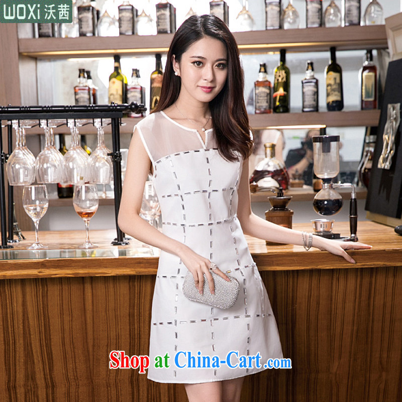 Mrs Rosanna Ure Kosovo _Woxi_ 2015 summer dress graphics thin skirt in Korean female temperament dresses 9293 white L