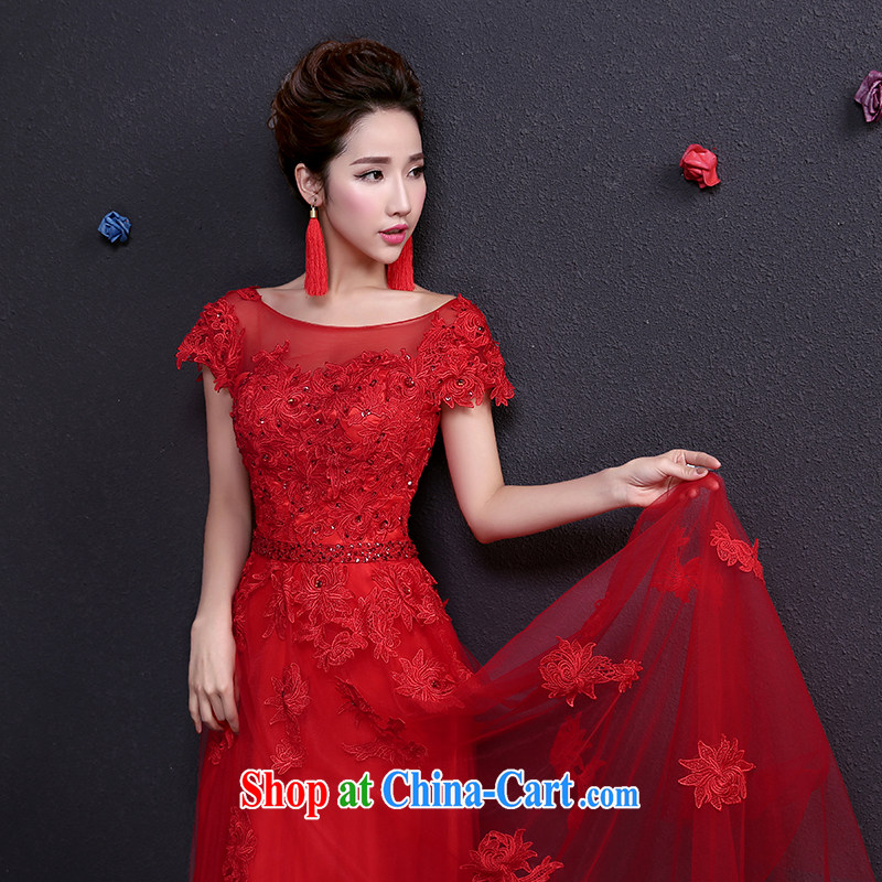 Toasting Service Bridal summer girl lace red wedding dress long bag shoulder evening dress red XXL