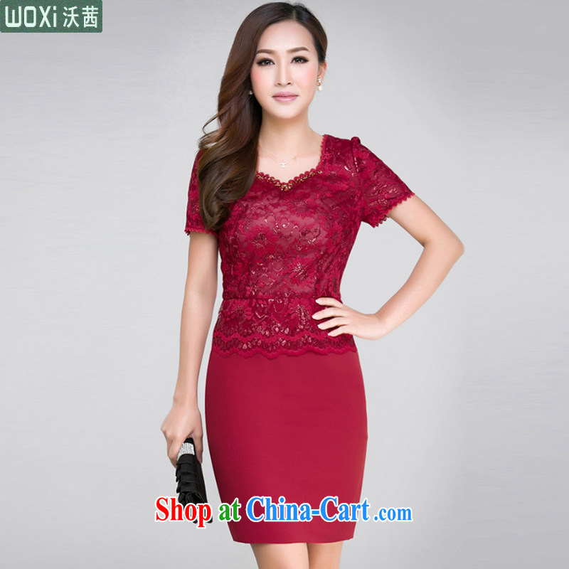 Mrs Rosanna Ure Kosovo (Woxi) 2015 Summer Load mother middle-aged large code dress upscale silk aura cultivating festive wedding dress cheongsam dress 6371 picture color XL
