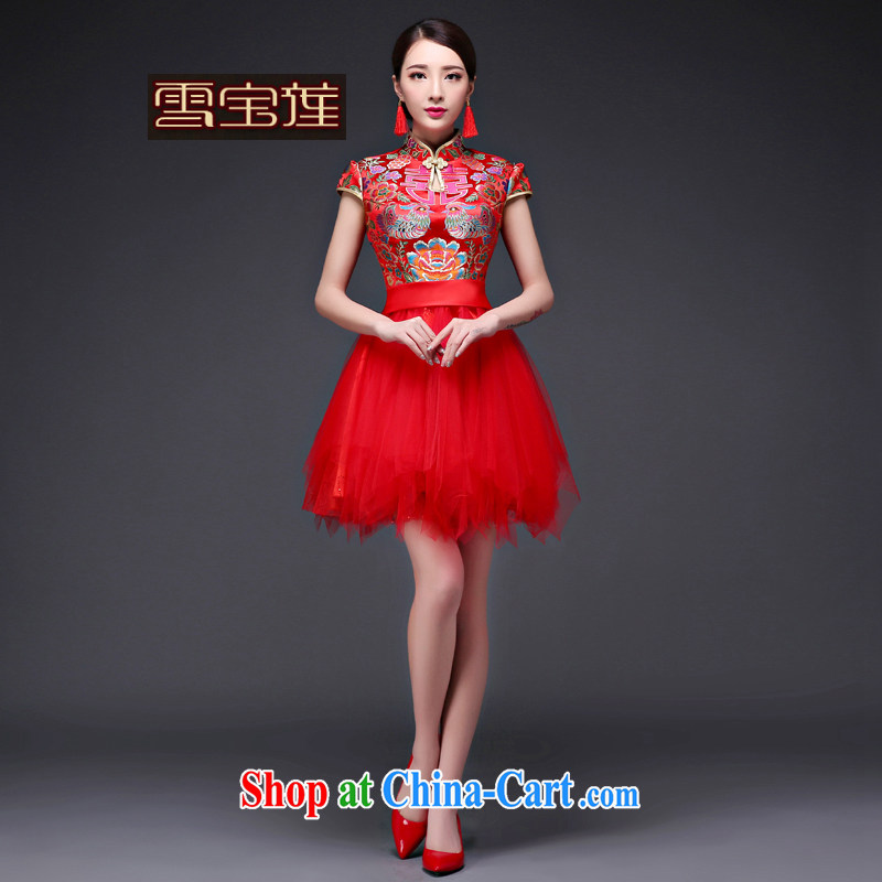 Snow Lotus new 2015 bridal summer wedding dresses toast Ms. serving short red stylish dresses banquet Web yarn cheongsam dress red XL