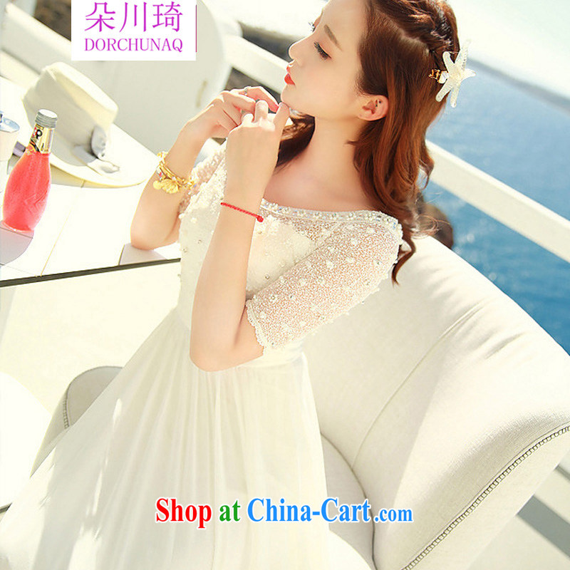 Flower Kawasaki 2015 spring and summer, lace nails Pearl inserts drill a field for the waist dress dress beach skirt white