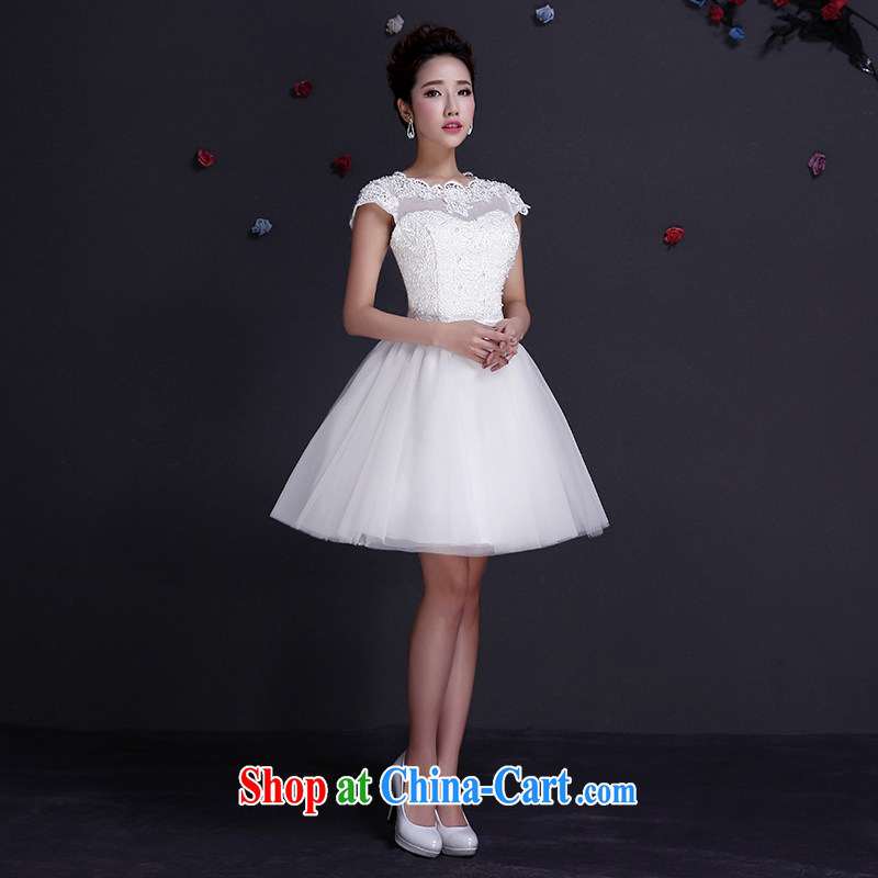 The married Yi Shen wedding dresses 2015 new the wedding dress lace bridesmaid clothing white package shoulder dress boudoir honey short summer dress white XXL