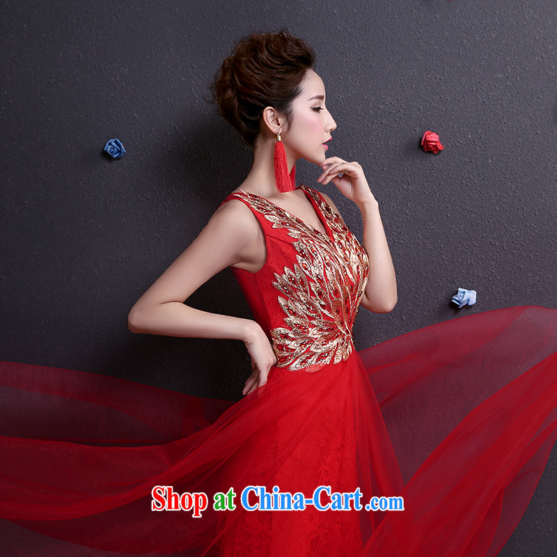 Toasting service summer 2015 new bride wedding dress a shoulder-length, red dress red XXL