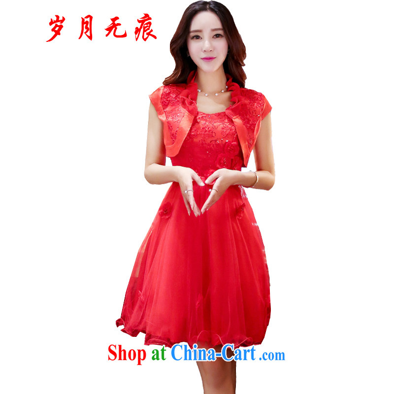 2015 package bows Service Bridal wedding dress set the shoulder small shawls two-piece dresses red marriages red XL