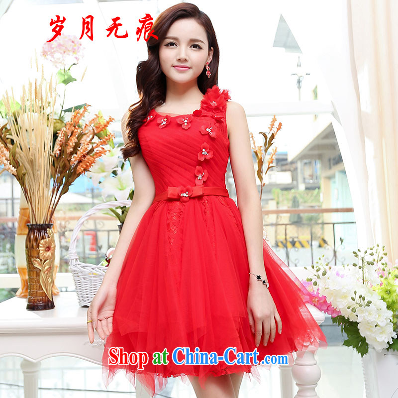 years no scratches 2015 summer wedding lace hook flower dress uniform toast bridal dresses bridesmaid skirt package and 6 red