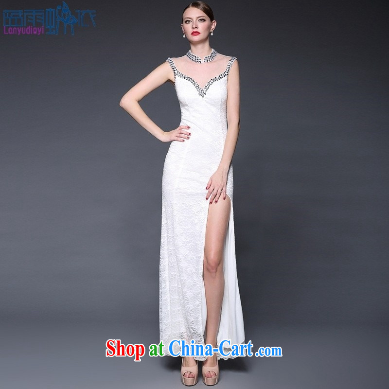 Blue rain bow in accordance with * 2015 new stitching lace manually staple Pearl dresses long, the forklift truck beauty dress dresses W 0143 black are code