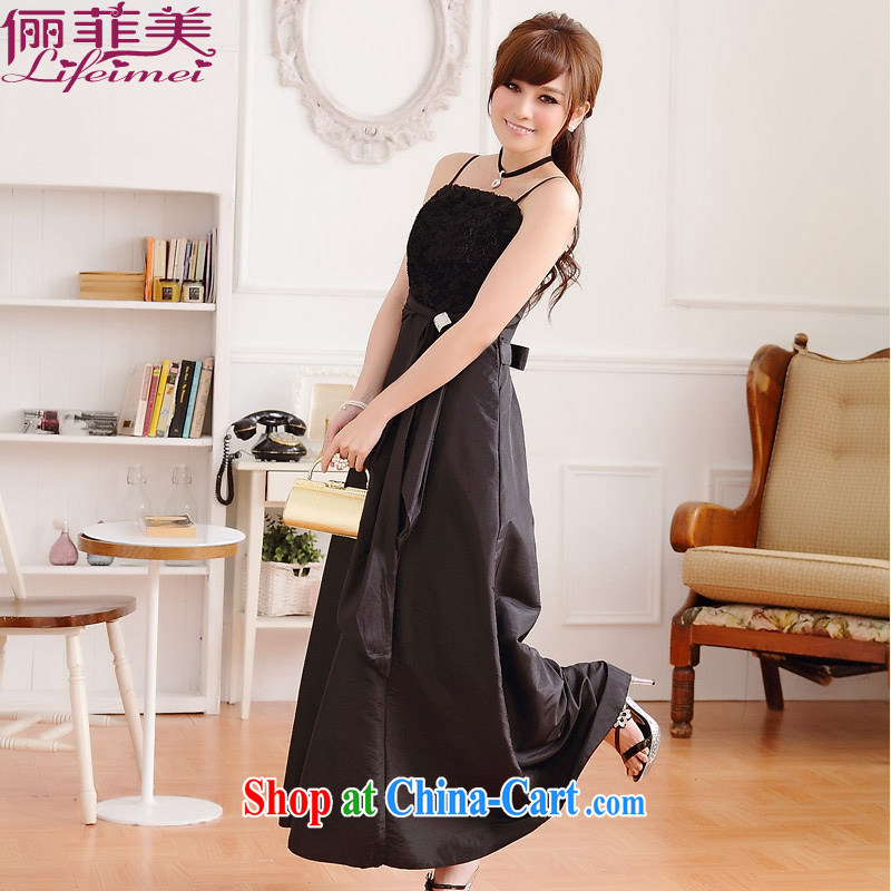 The package mail larger female chest flower rose straps long version A field it is even higher than waist Evening Dress classy dress celebration annual dress black color XXL