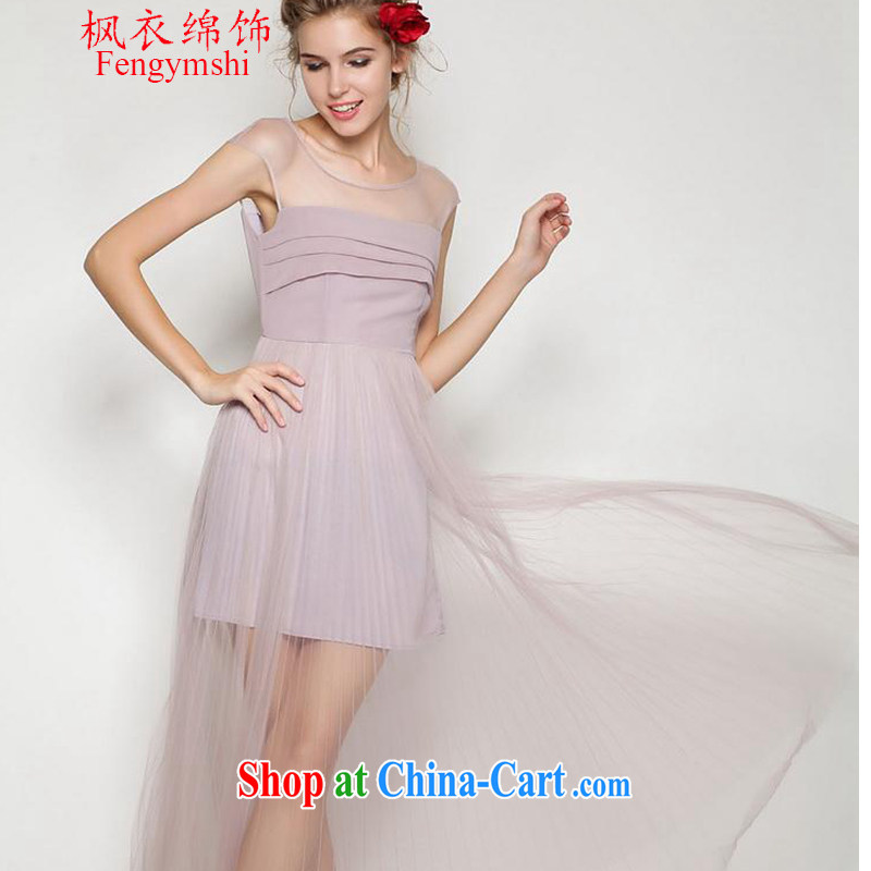 Feng Yi cotton trim 2015 new European and American men spring_summer beauty aura 100 hem long skirt, small dress fairy dress pink L