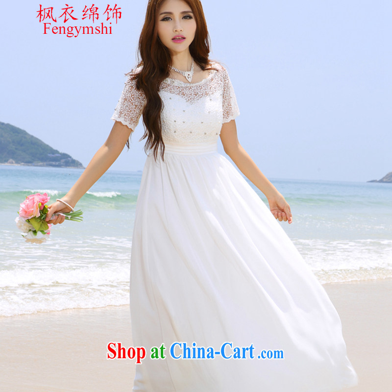 Feng Yi's cotton trim new Maldives beach dress wedding nails Pearl wood drill dress long dress white. XL .
