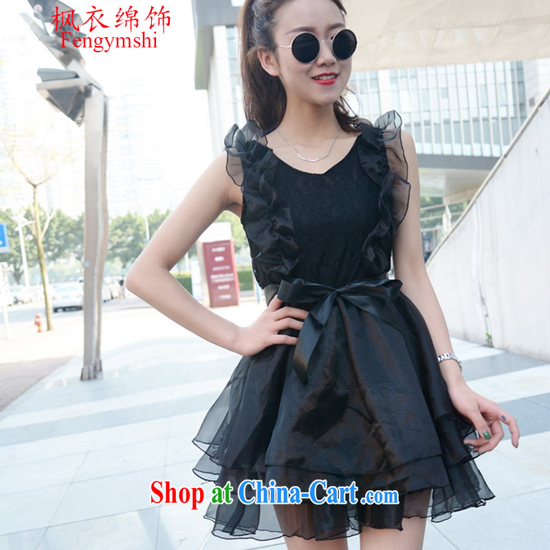 Feng Yi cotton trim 2015 new summer V collar sexy Princess shaggy European root yarn small dress lace dress black women are code
