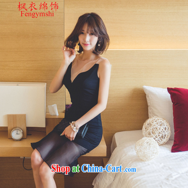 Feng Yi cotton trim 2015 summer new, Korea Polytechnic sexy V collar stitching crowsfoot name Yuan-waist dresses small dress black XL