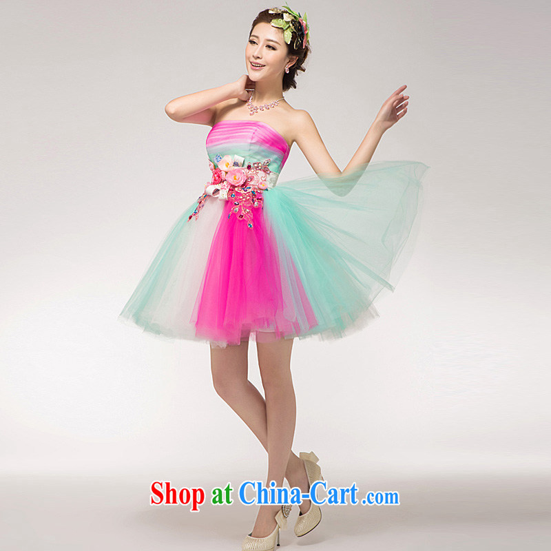 Ho full Chamber 2015 new appearances serving short version won Princess bridesmaid toast serving serving color clothing dresses colorful XL