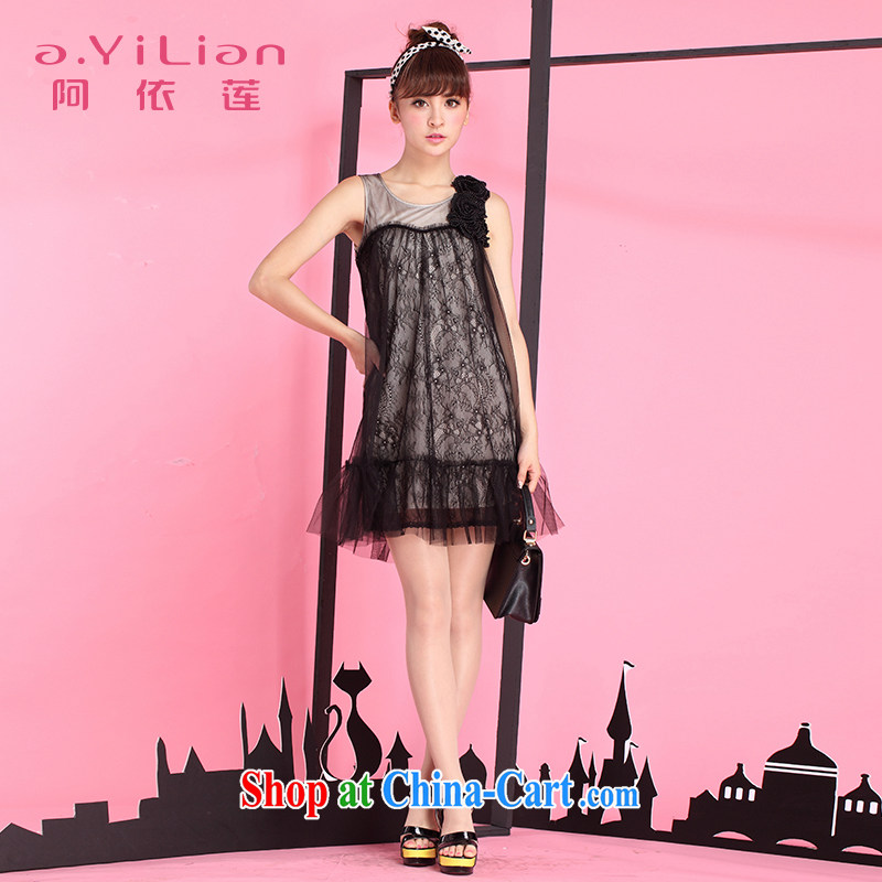 In accordance with the Hualien 2015 summer New College wind round-collar loose vest short skirt lady Web yarn small gift skirts CZ 22180471 black XL