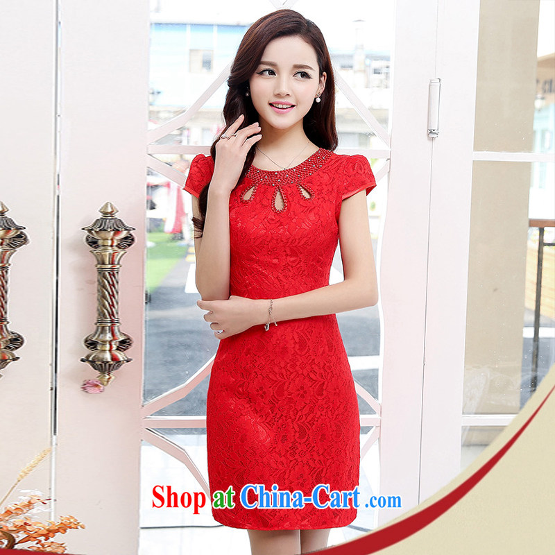 2015 summer edition Korea beauty with retro short-sleeved package and lace cheongsam dress skirts dresses 1539 red L