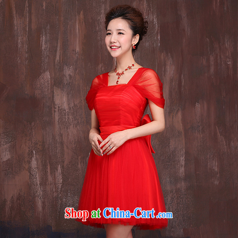 Ho full Chamber bridal wedding bridesmaid dress short strap shoulder the wedding dress 2015 cultivating graphics thin toast serving red XL