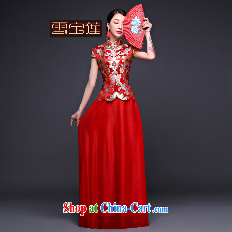 Snow Lotus bridal dresses bows dress uniform cloud, stylish new and improved summer, red long Chinese beauty textile flowers dress upscale wedding flag red M