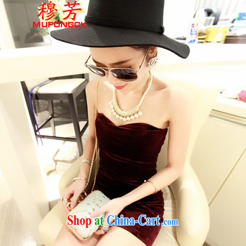Mr. Fong 2015 summer new night sexy package and dresses beauty graphics thin bare shoulders wrapped chest bare chest dress skirt 689 wine red