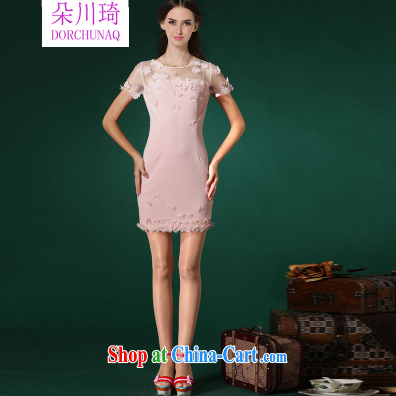 Flower Kawasaki 2015 summer new manual high-end three-dimensional flower petals beauty dresses small dress