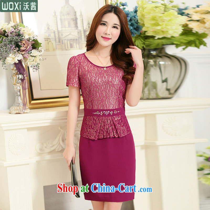 Kosovo Lucy _Woxi_ 2015 summer leave of two part lace short-sleeved cultivating flouncing middle-aged dresses 6378 red XXXXL
