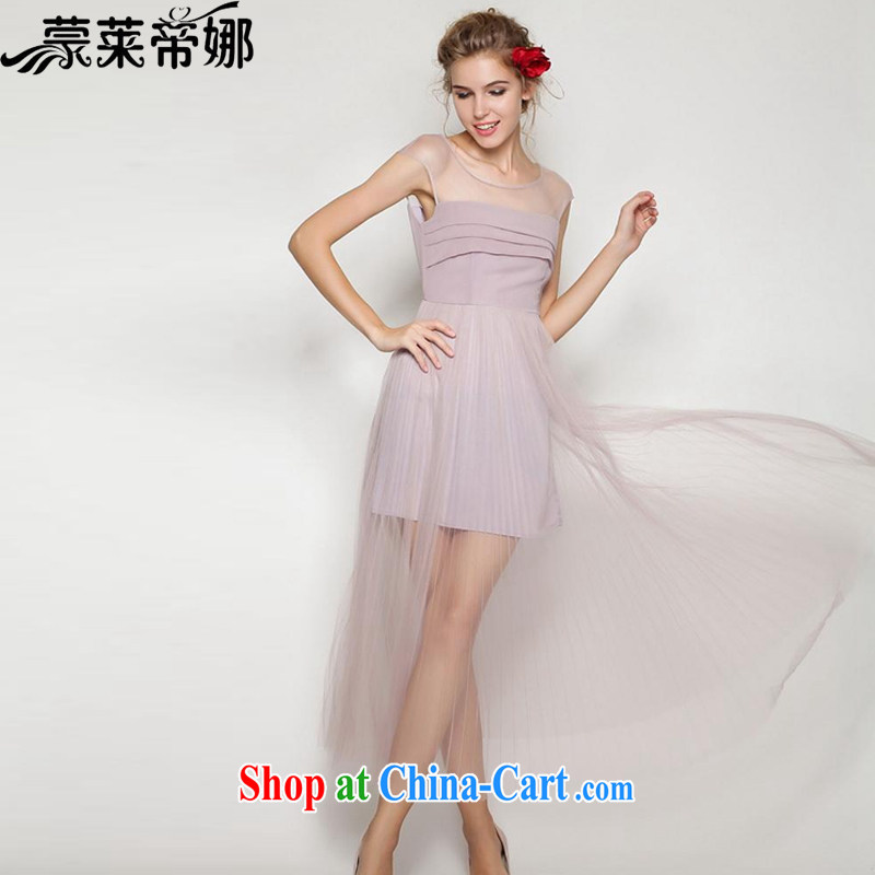 Tony Blair, in Dili, summer 2015 ladies' new European and American-style in Europe and won a spring and summer beauty aura 100 hem skirts, small dress fairy snow woven dresses 60 light purple L