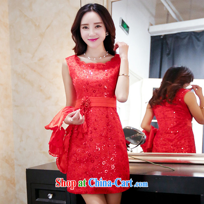 The Timorese Connie 2015 summer lace hook take bows Service Bridal bridesmaid skirt package and dresses red XXXL