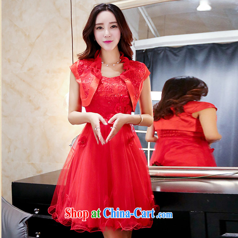 The Timorese Connie 2015 summer new lace hook flower bridal toast clothing dresses female Red XXXL