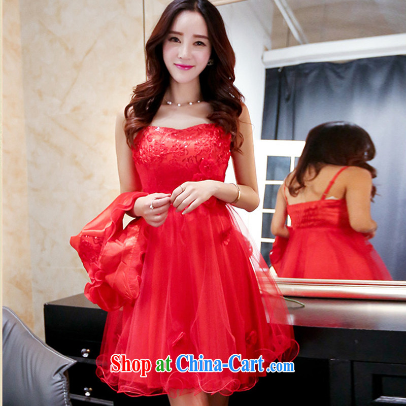 The Timorese Connie 2015 summer new lace hook flower bridal toast clothing dresses female Red XXXL, the Timorese Connie, shopping on the Internet