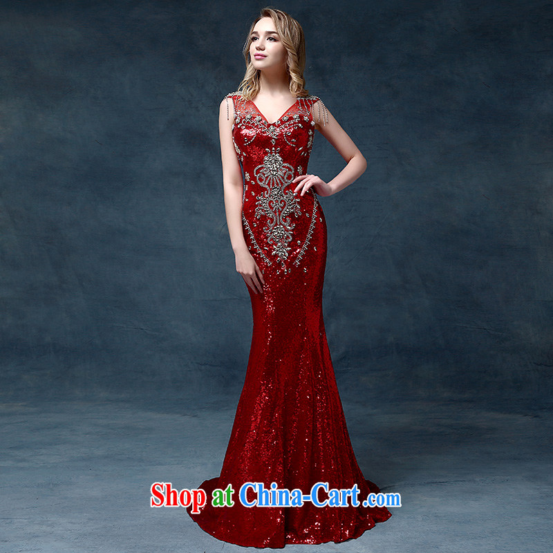 According to Lin Sha high-end luxury crystal dress Korean Korean dress bridal wedding dresses bows dress red are code