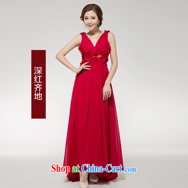 2015 new bride toast clothing dress long red annual marriage dress exposed the dresses female dark red with XL