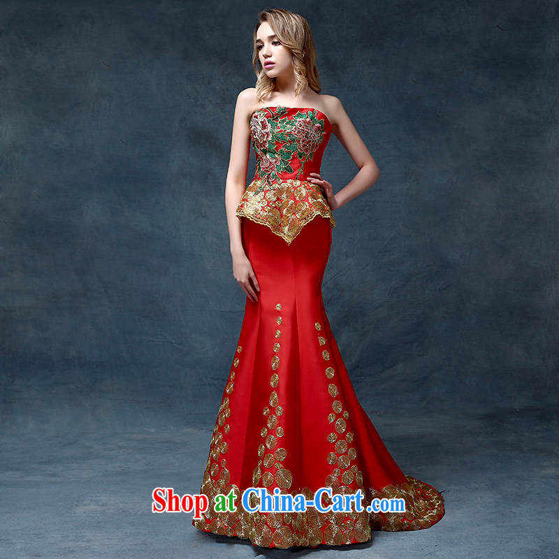According to Lin Sa 2015 New Evening Dress China wind marriages toast beauty service at Merlion dress uniforms are red code