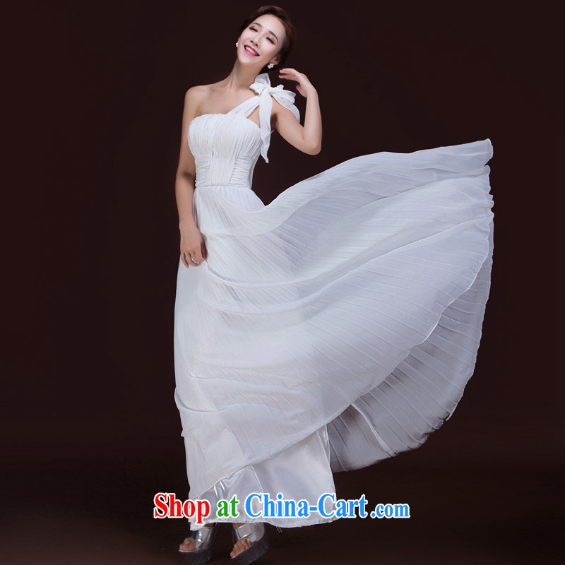 Ho full Chamber 2015 new bride bridesmaid wedding dress wedding toast serving long single shoulder bow tie dress white M